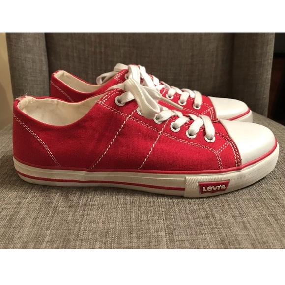 Levis Womens Red Canvas Shoes Sneakers